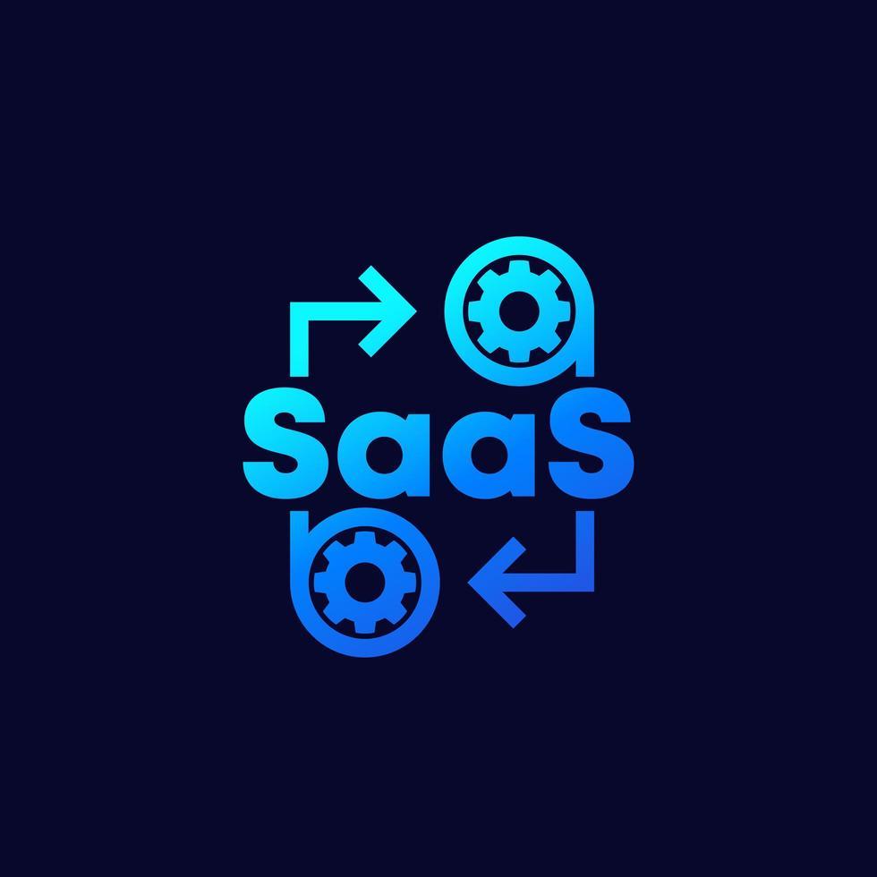 saas, software come icona di servizio con ingranaggi, vettore