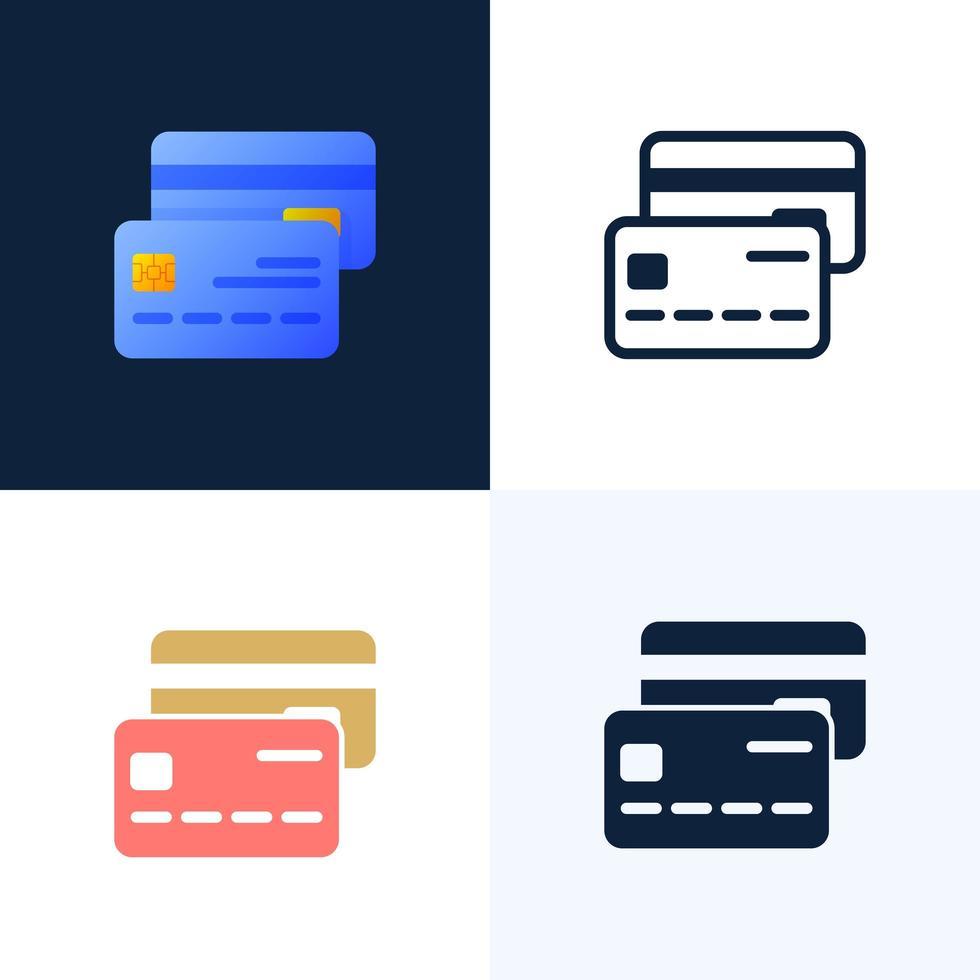 set di icone vettoriali di carta di credito. il concetto di mobile banking e l'apertura di un conto bancario. illustrazione elegante a colori con figure astratte e foglie.