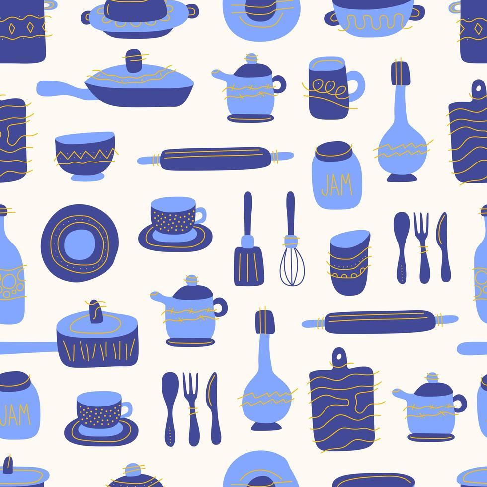 Cucina Seamless Pattern Di Articoli Per La Tavola Decorativi Utensili O Stoviglie In Ceramica Tazze Piatti Scodelle Brocche Illustrazione Vettoriale In Stile Piatto Con Texture Bluw E Arancione 1918614 Scarica