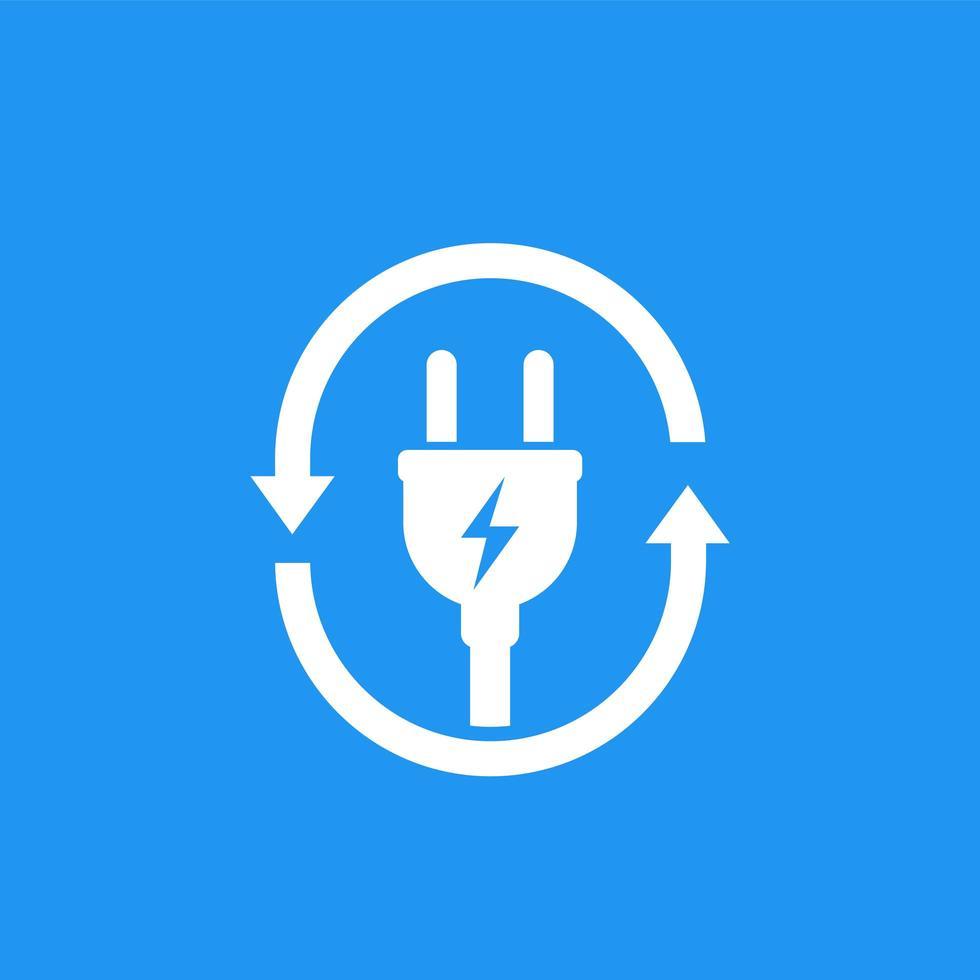 icona della presa elettrica con le frecce vettore