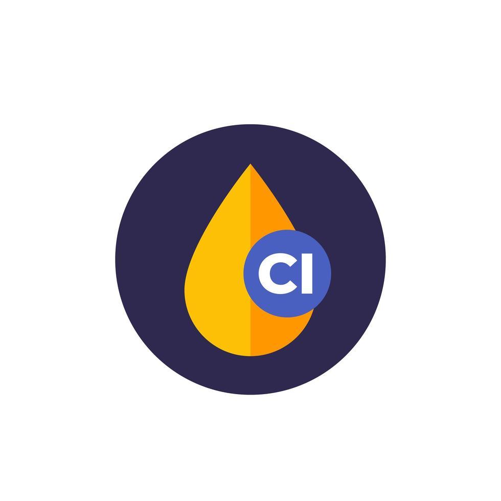 icona piana di vettore di goccia di cloro