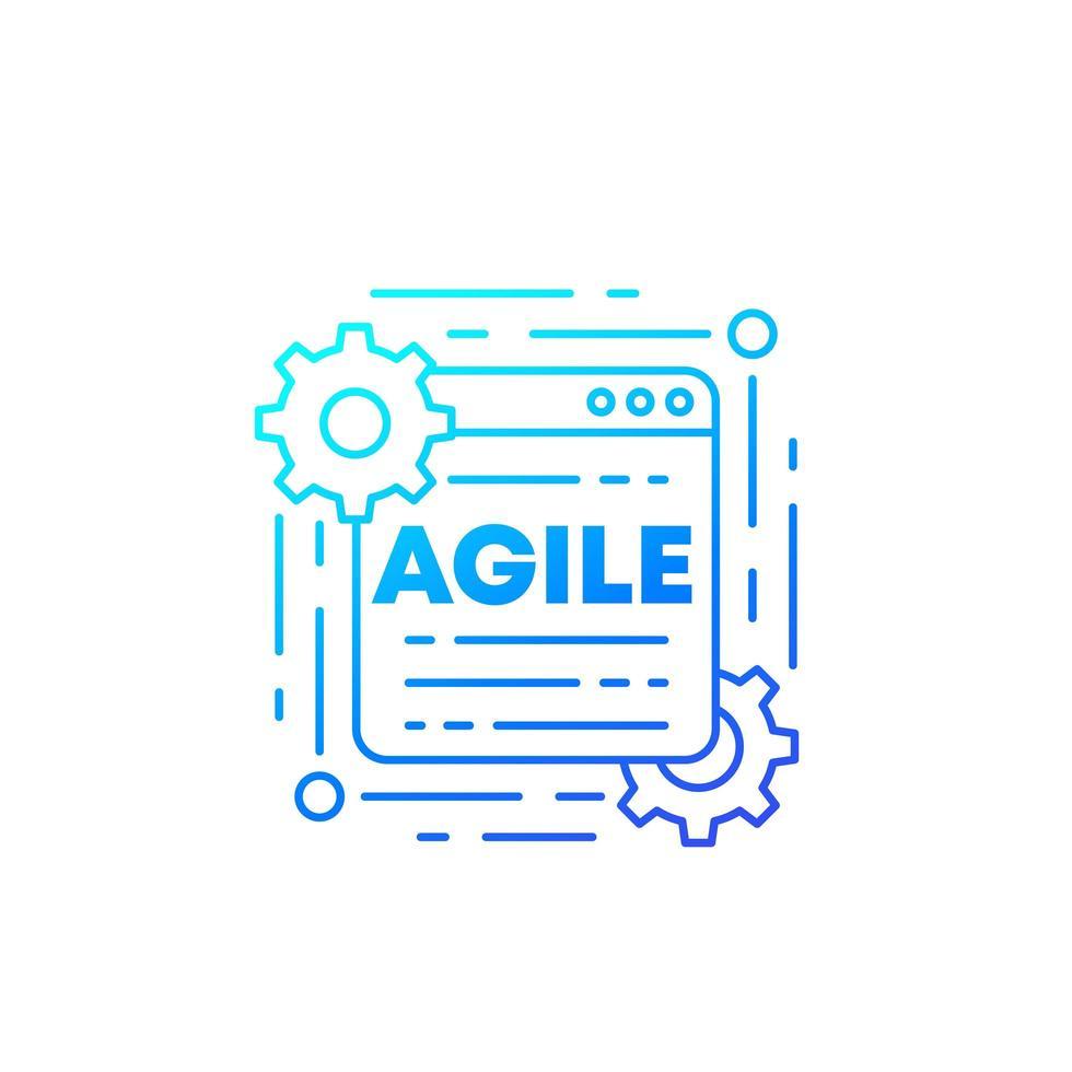 icona di vettore del processo di sviluppo software agile, linea