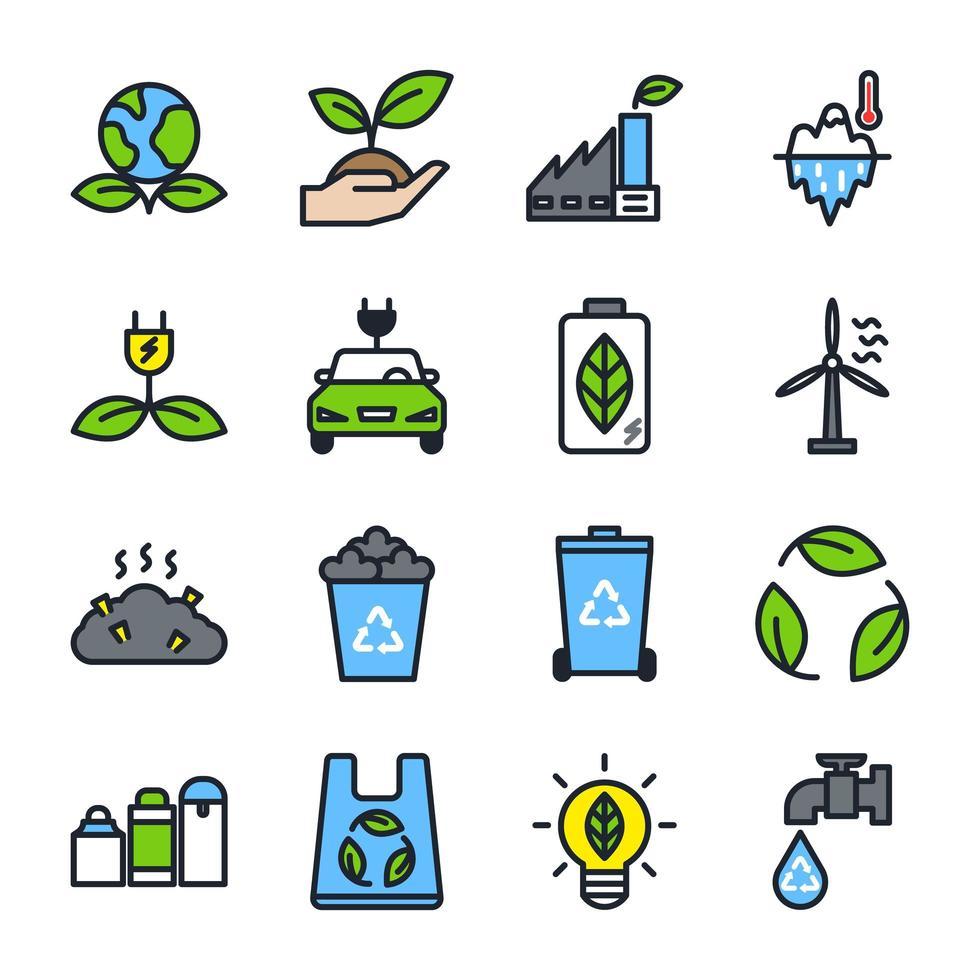 set di icone eco vettore