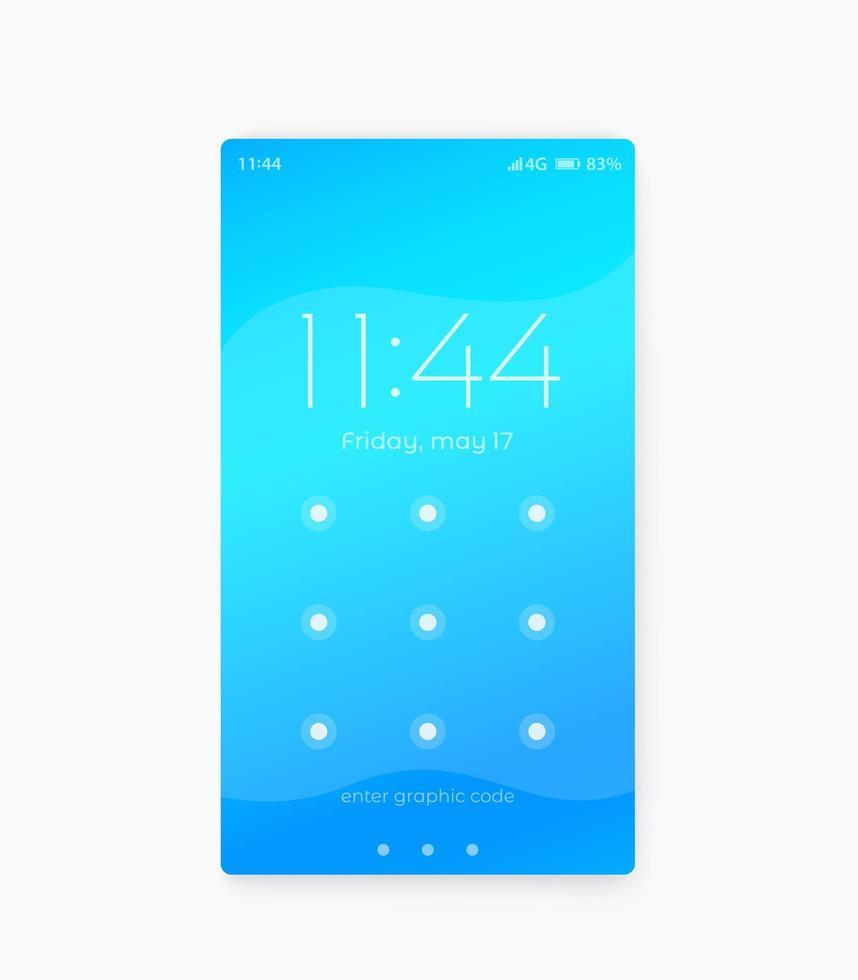schermata di blocco del telefono, design dell'interfaccia utente vettore
