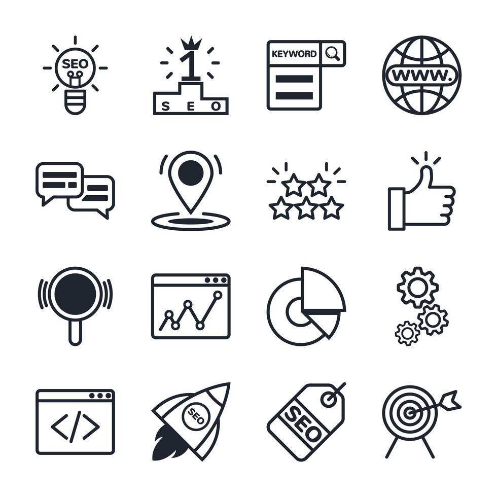 set di icone di ottimizzazione dei motori di ricerca vettore