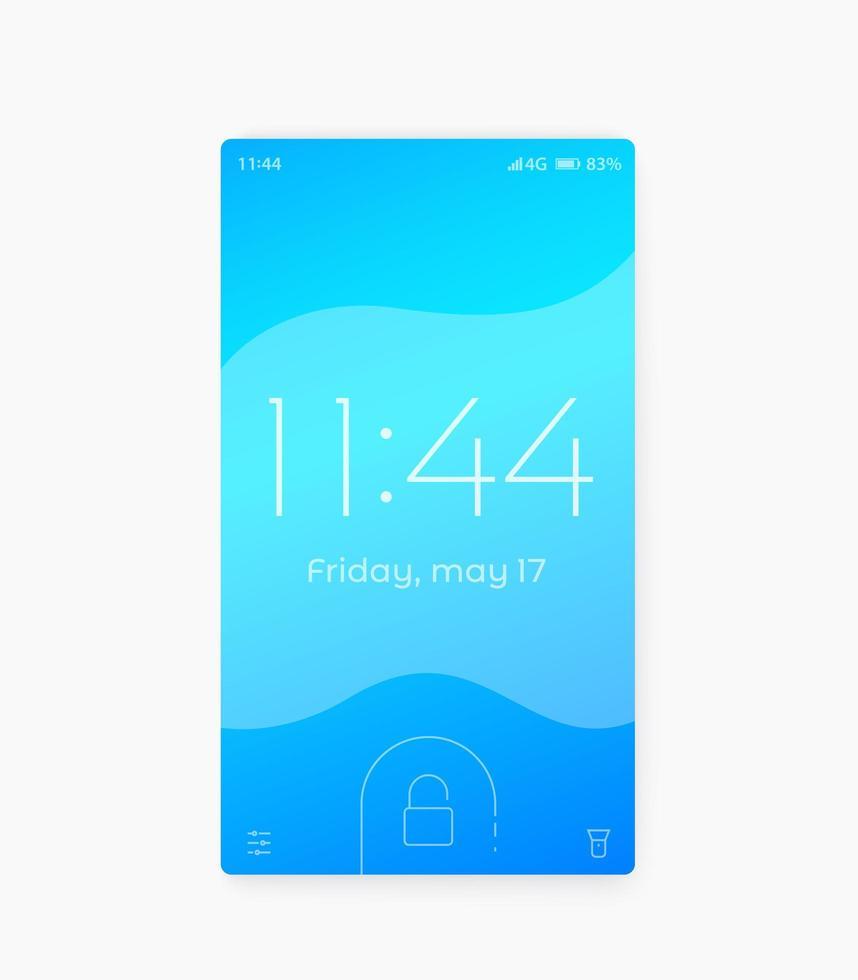 schermata di blocco del telefono intelligente, disegno vettoriale