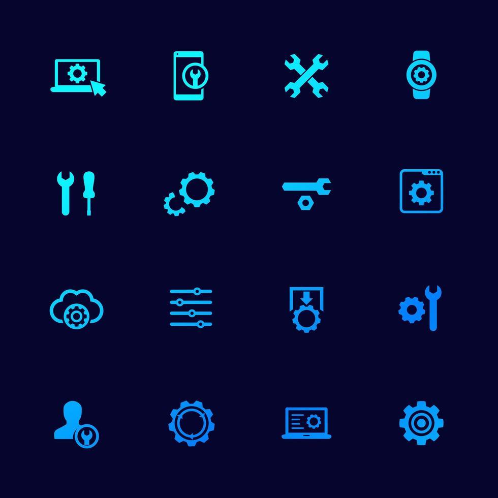 impostazioni, icone delle opzioni impostate con ingranaggi, vettore