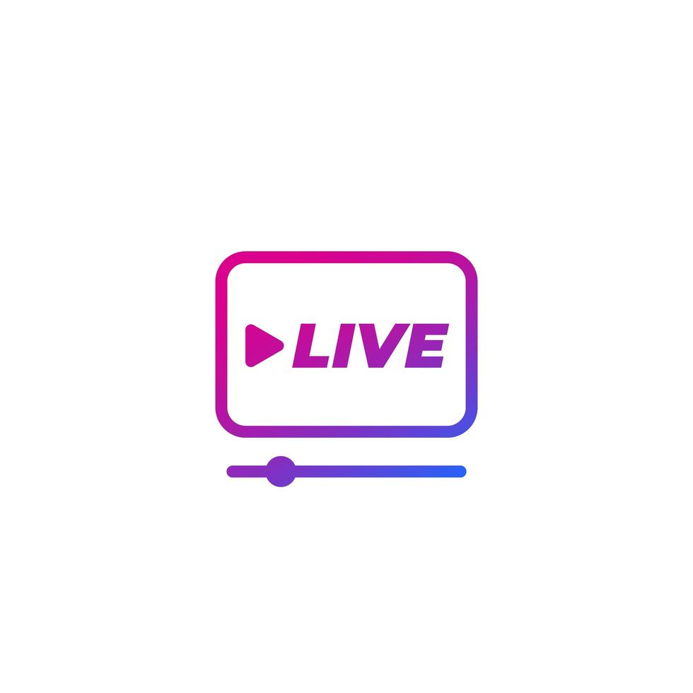 icona del lettore di streaming live su bianco vettore