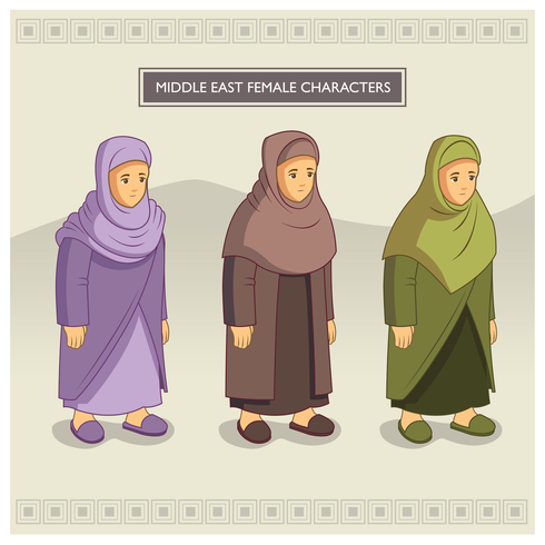 Personaggi femminili mediorientali vettore