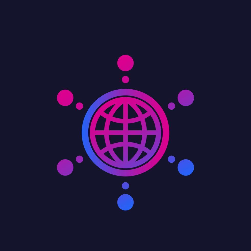 logo di rete con globo e connessioni, vettore