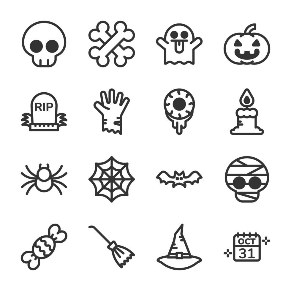 set di icone di halloween vettore