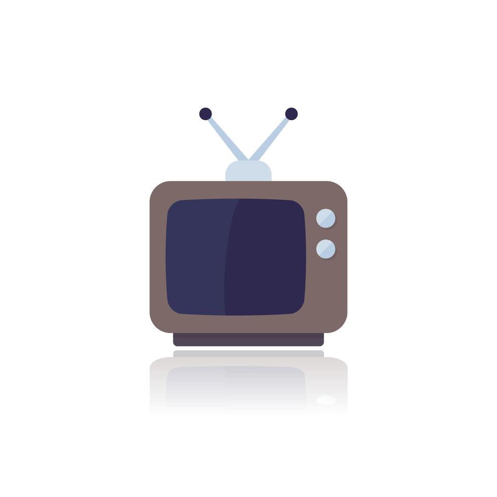 tv con antenna, vecchia televisione, icona piatto vettoriale su bianco