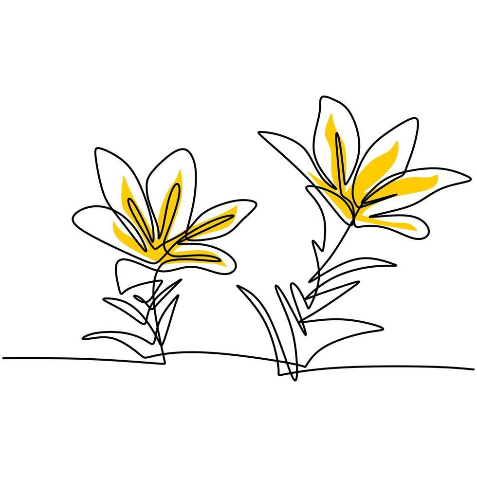 opera d'arte a linea continua bellissimo design minimalista di fiori. fiore decorativo per poster. linea modificabile. contorno contorno disegnato a mano illustrazione vettoriale di piante botaniche opere d'arte