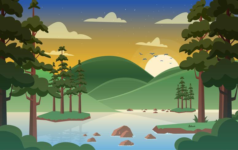 illustrazione di paesaggio foresta vettoriale