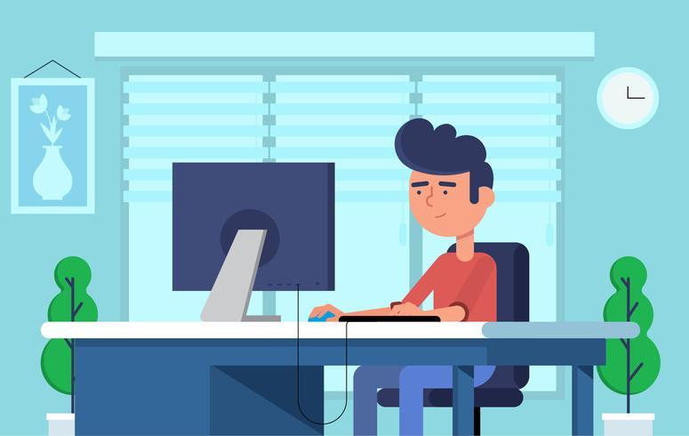 Illustrazione di vettore ufficio lavoratore