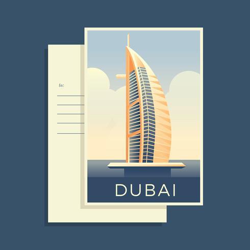 Cartoline del mondo Dubai vettoriale