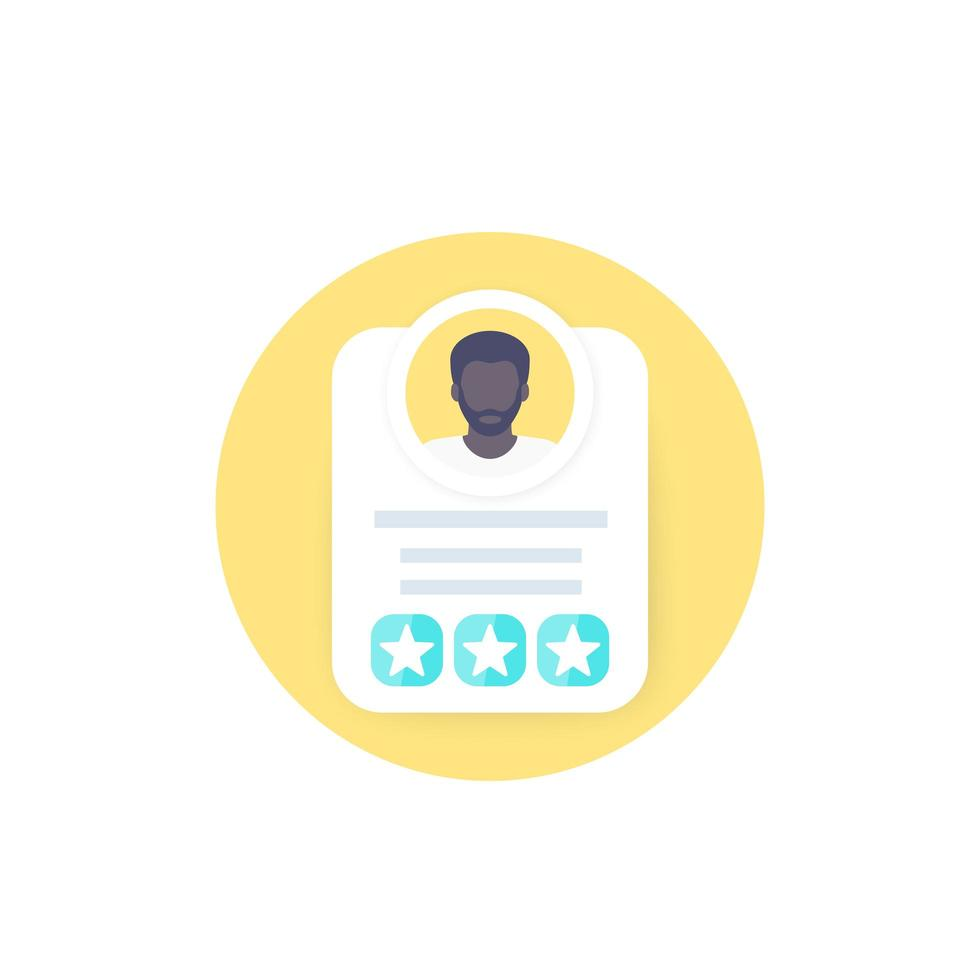 icona di revisione, valutazione o punteggio dei dipendenti vettore