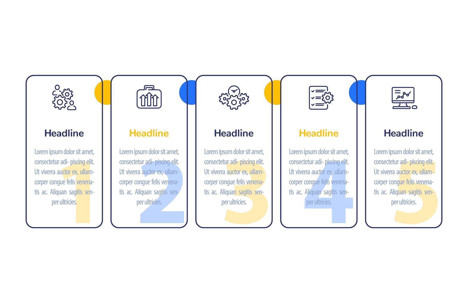 infografica aziendali con icone di linea, disegno vettoriale