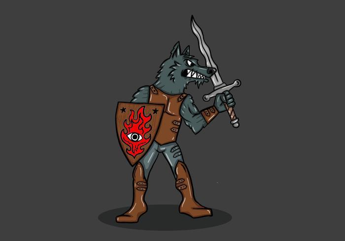 guerriero lupo fantasy vettore