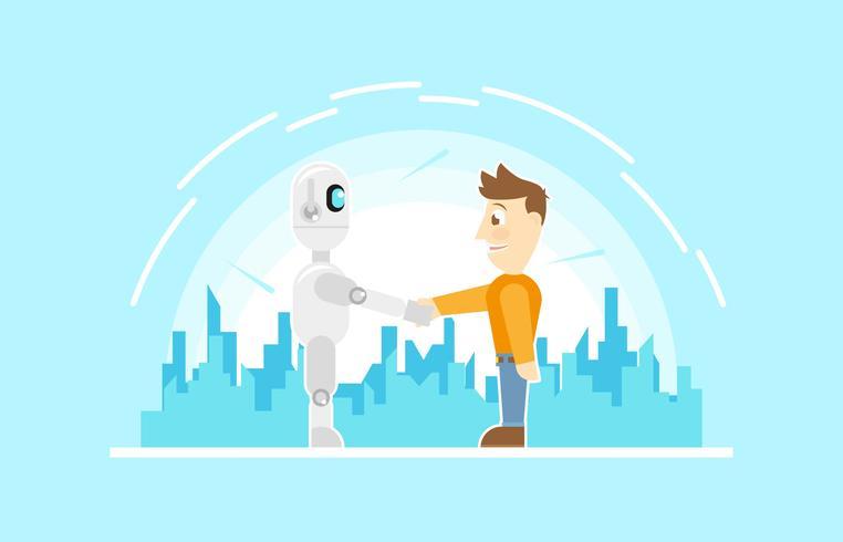 Vettore piano dell'illustrazione di tecnologia amichevole futura del robot di Ai