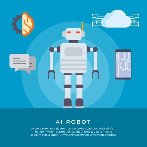 Illustrazione vettoriale di robot piatto AI