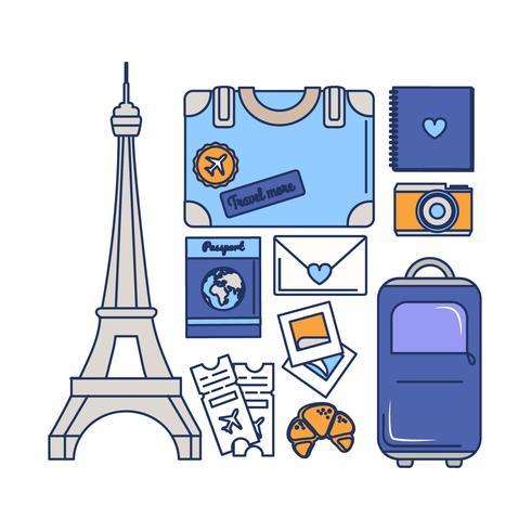 Elementi essenziali per il viaggio a Parigi vettore