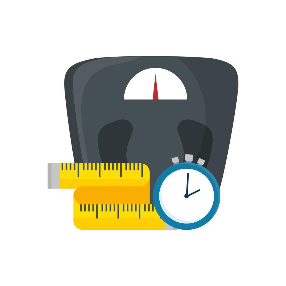 bilancia misurare il peso con nastro di misurazione e tempo del cronometro vettore