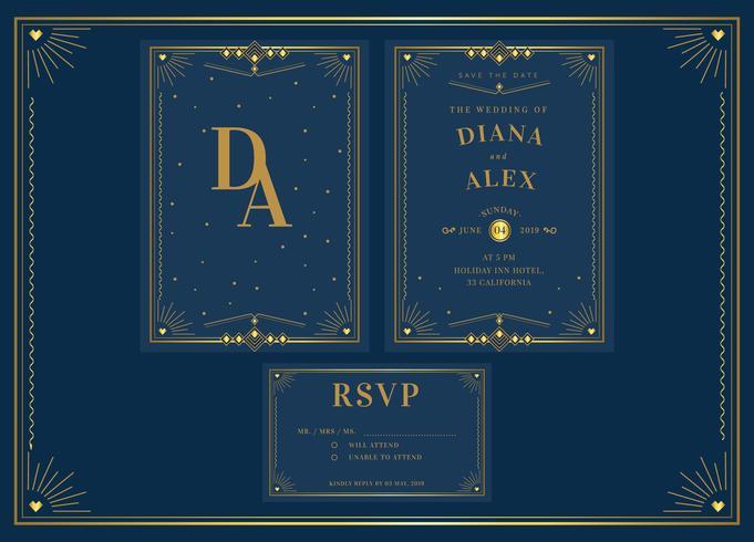 Vettore elegante del modello di invito di nozze di art deco del pacchetto dell'oro blu