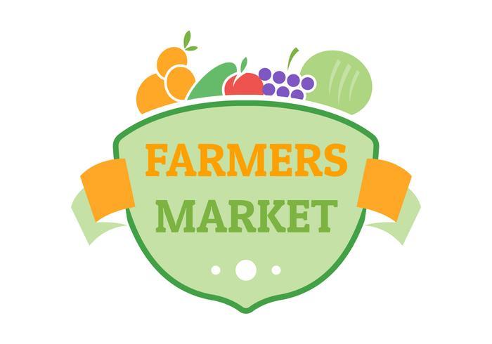 modello di logo distintivo piatto di mercato degli agricoltori vettore