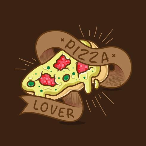 Illustrazione di tipografia amante della pizza vettore