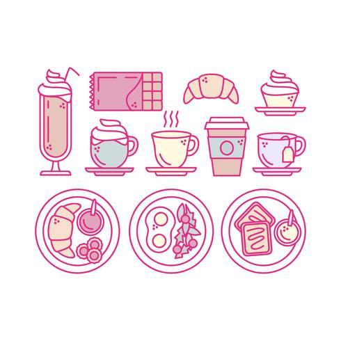 Icone di vettore colazione contorno