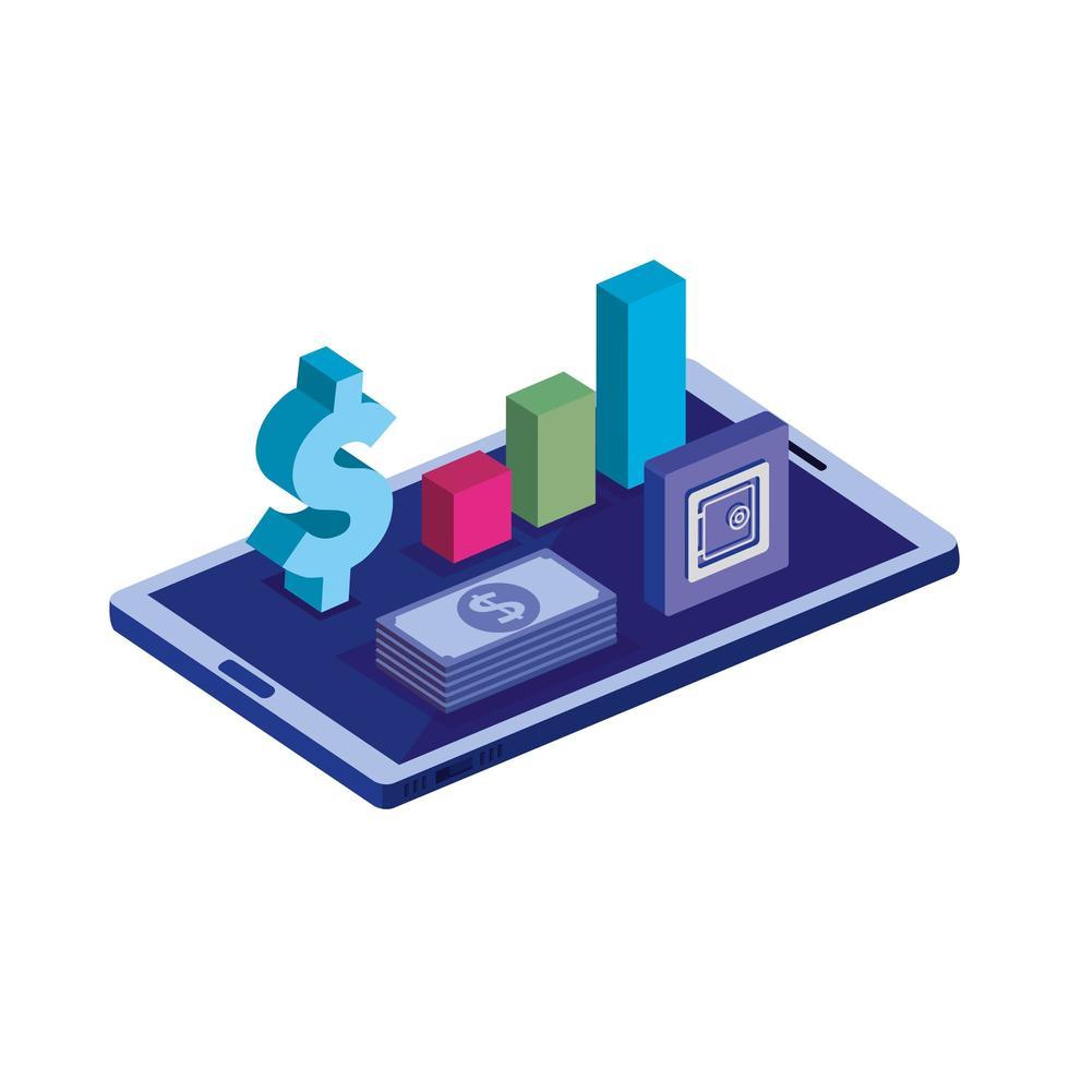 dispositivo smartphone con simbolo del dollaro e infografica vettore