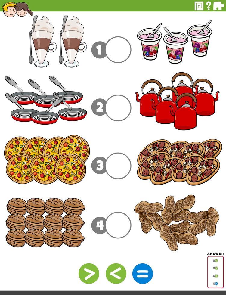 compito maggiore o uguale con oggetti alimentari vettore
