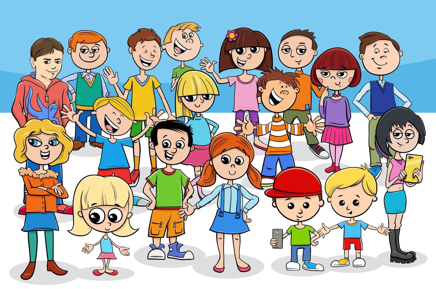 gruppo di personaggi dei cartoni animati di bambini e adolescenti vettore