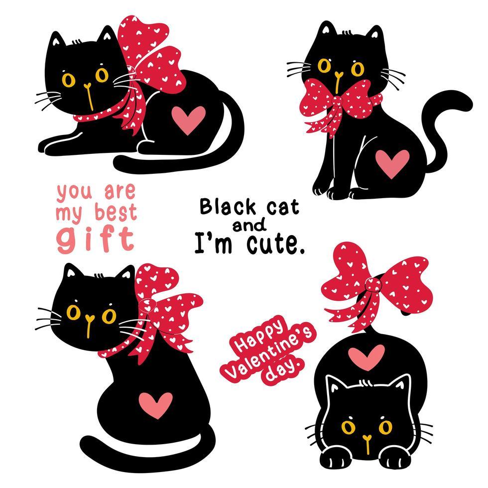 simpatico gattino gatto nero San Valentino con fiocco di nastro rosso insieme di raccolta regalo di festa, clip art illustrazione scarabocchio vettore