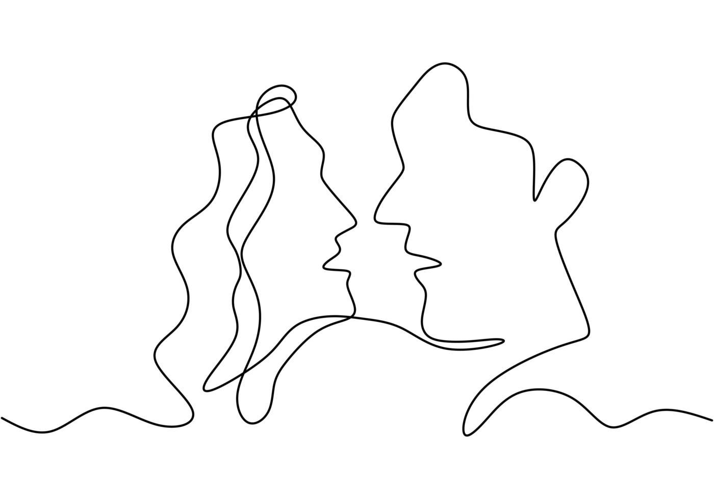continuo un unico disegno a tratteggio del romantico bacio di due amanti. illustrazione vettoriale di schizzo disegnato a mano di minimalismo, buono per banner, poster e sfondo di San Valentino. concetto di relazione.
