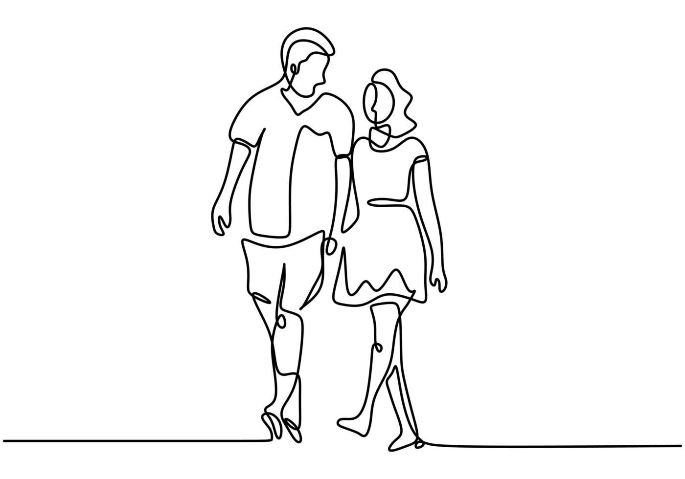 una coppia di linea che si tiene per mano. tema romanticismo e relazione. illustrazione vettoriale per carta di San Valentino, banner e poster.