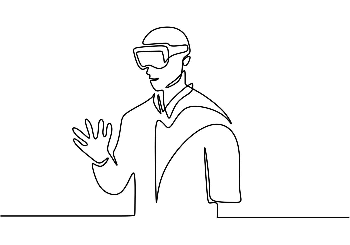 una linea continua disegno uomo in occhiali dispositivo realtà virtuale, semplicità di illustrazione vettoriale. tecnologia del futuro elettronica disegnata a mano minimalismo. vettore