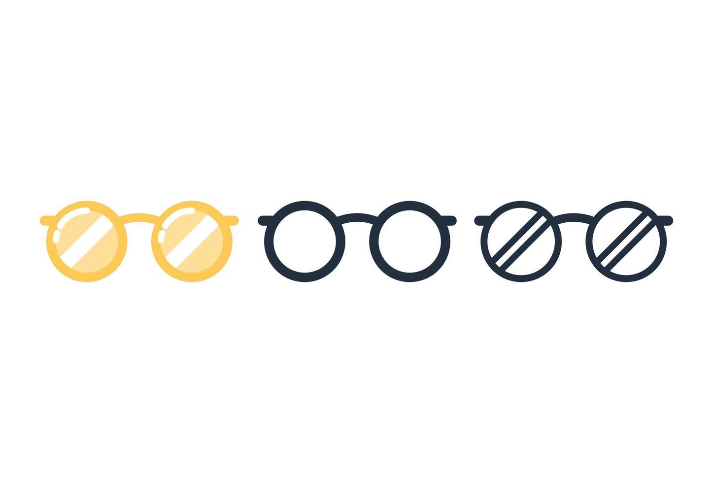 set di icone di occhiali carino vettore