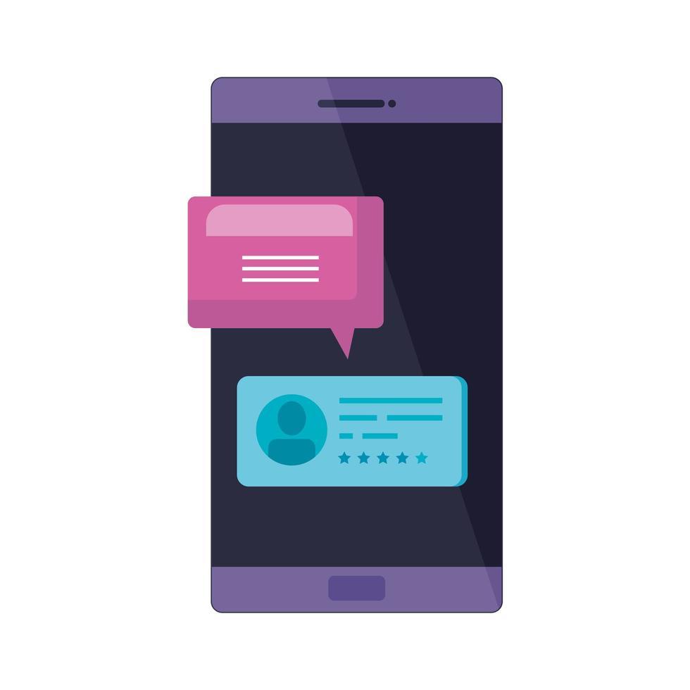 dispositivo smartphone con bolle di discorso vettore