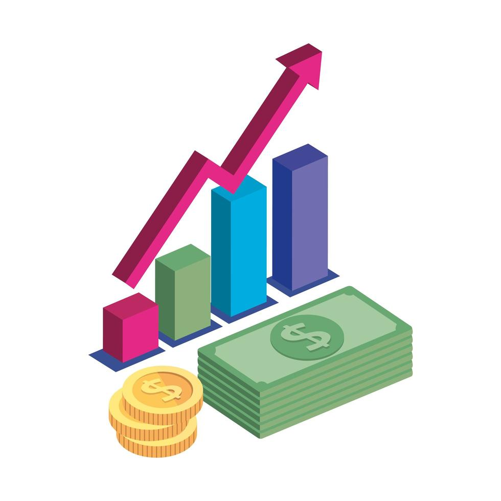 bar statistiche con pile di monete e pila di banconote vettore