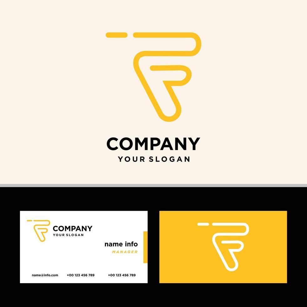 monogramma lettera f logo design con biglietto da visita vettore