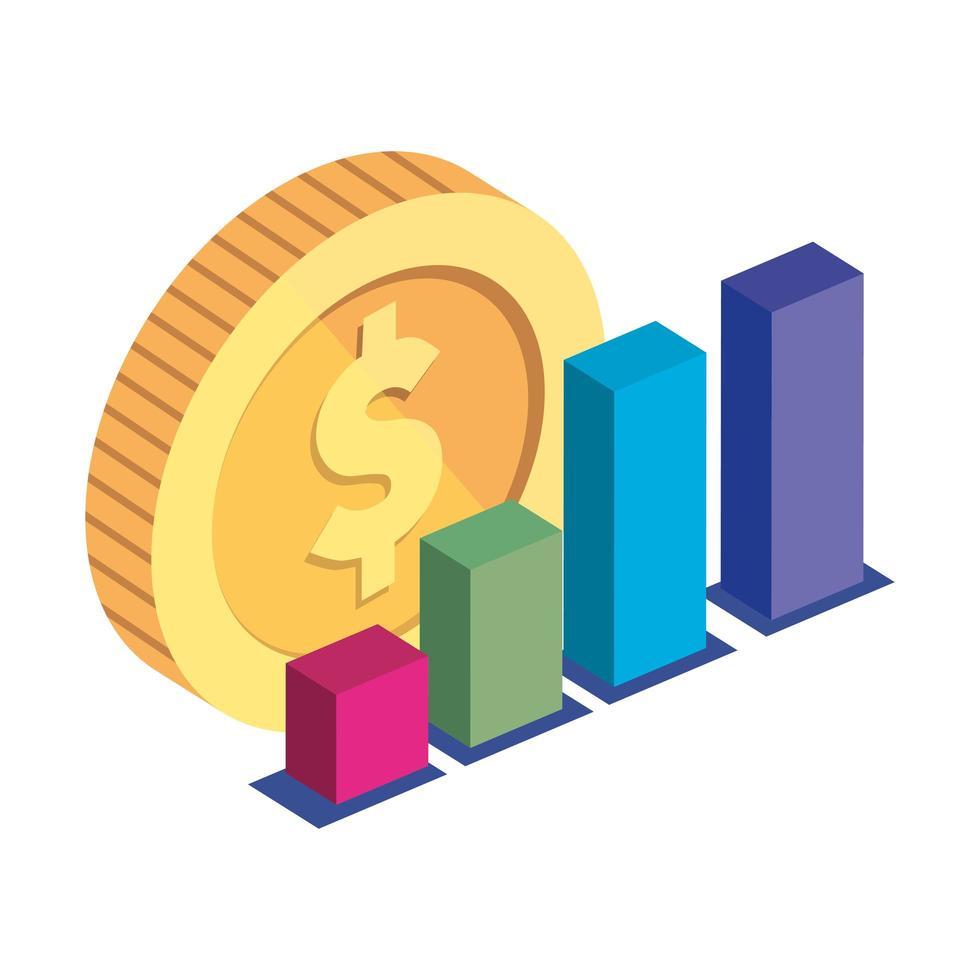 bar statistiche con icona isolata di moneta vettore