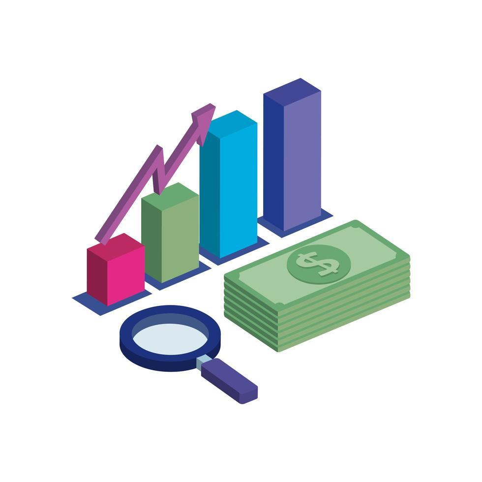bar statistiche con lente di ingrandimento e pila di banconote vettore