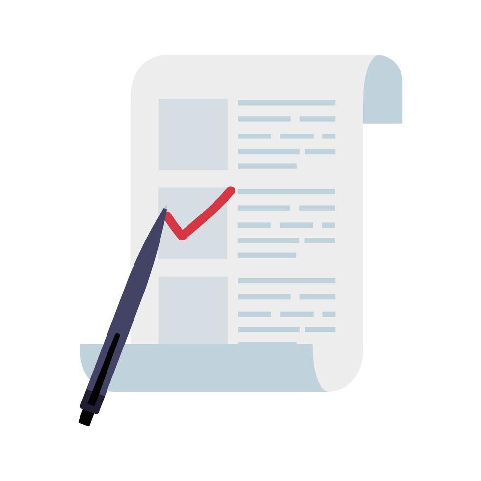 modulo di voto con icona isolata di penna vettore
