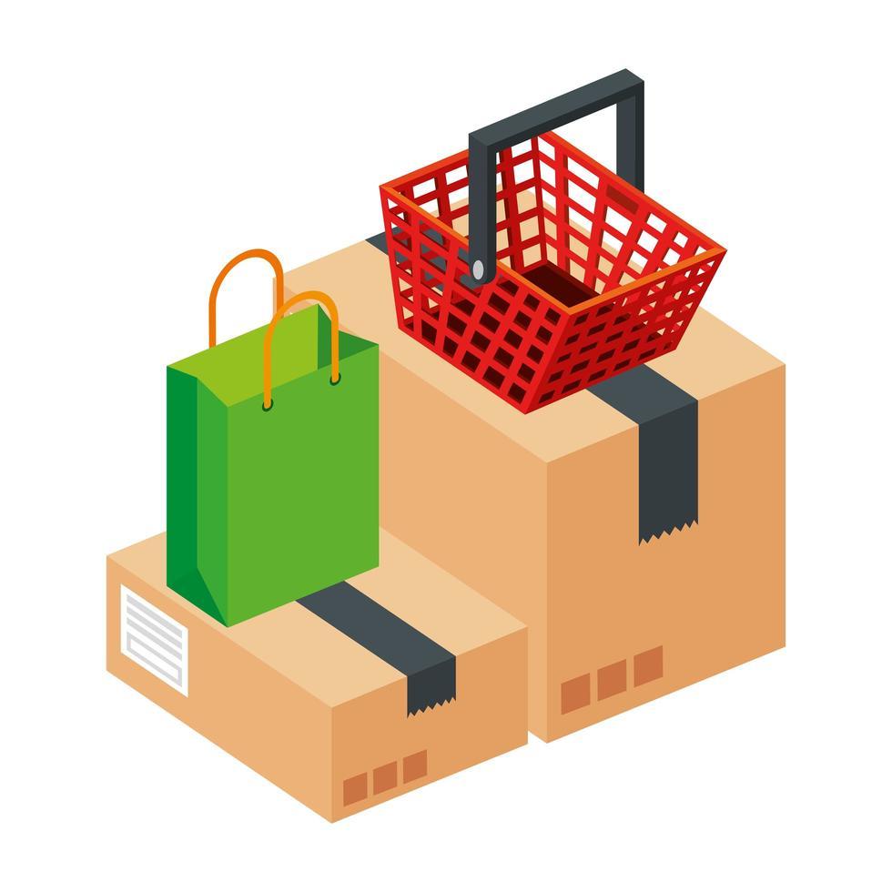 borsa con cestino della spesa e confezione scatola vettore