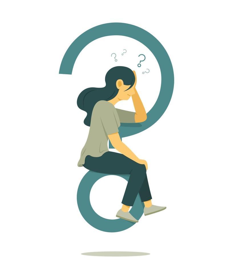 donna pensa alla domanda e seduto sul grande simbolo del punto interrogativo. vettore