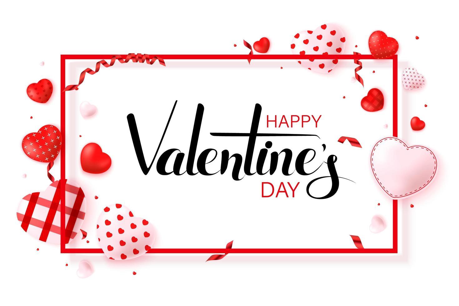 felice disegno di cartolina d'auguri di San Valentino vettore