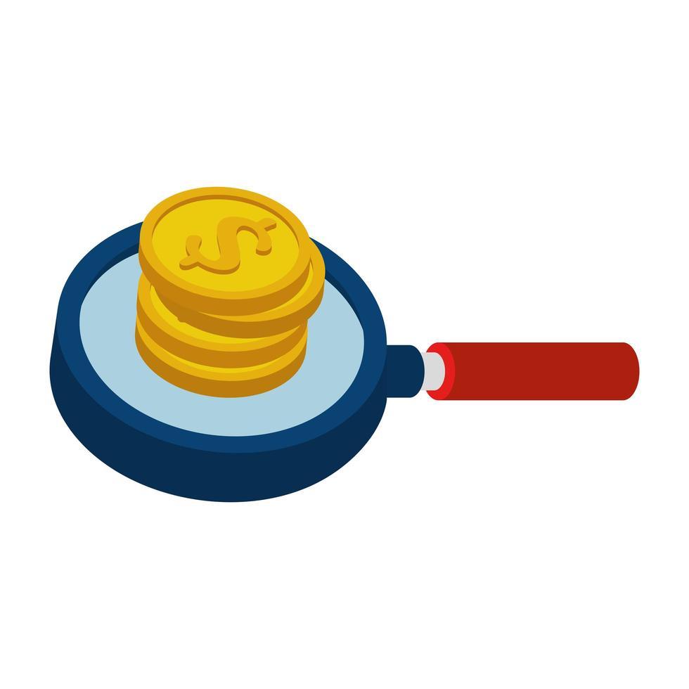 mucchio di monete con icona isolata lente di ingrandimento vettore