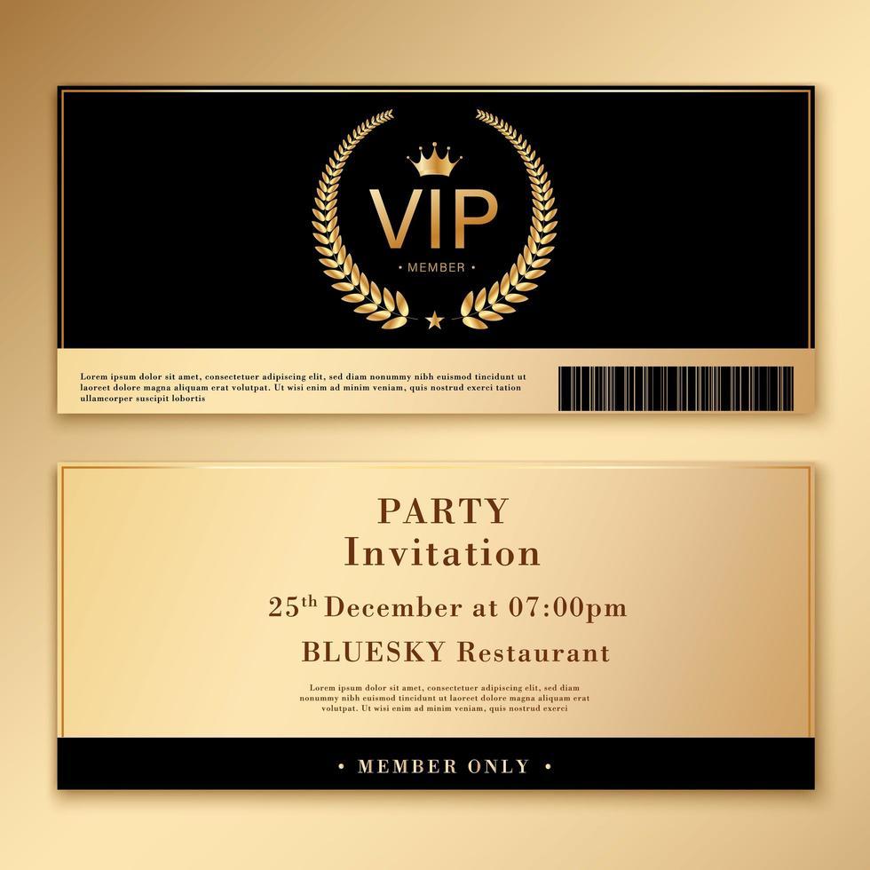 modello di invito impostato con design oro e nero vettore